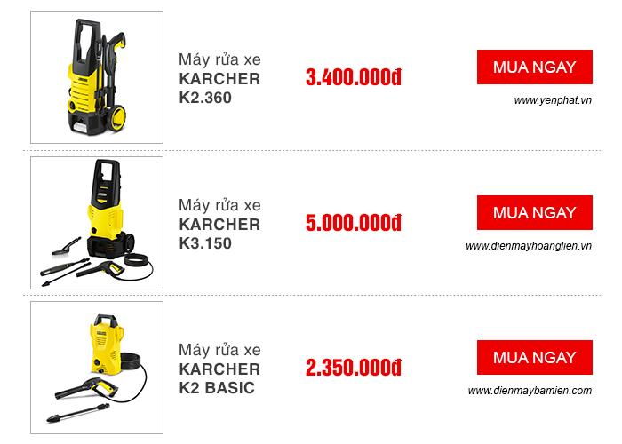 Giá một số model của máy rửa xe karcher