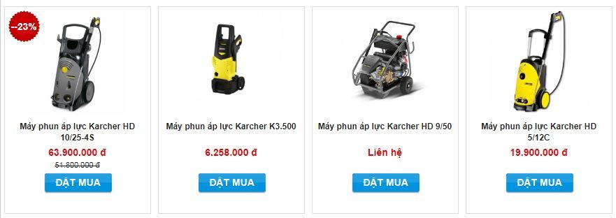 Giá một số modem máy rửa xe Karcher hiện đang được Điện máy Hoàng Liên phân phối