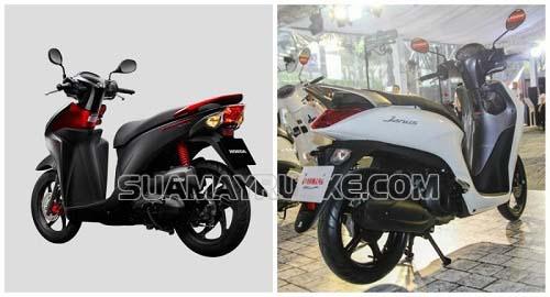 Hai dòng xe máy Honda Vision và Yamaha Janus