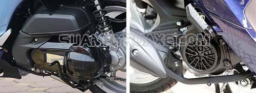 Vị trí đặt động cơ của hai loại xe máy Vision và Janus